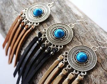 Turquoise Tibetan Earrings - Tibetan Jewelry - Festival Jewelry - Boho Leather Fringe Earring - Tan Leather Fringe Earring -  Ethnic Jewelry