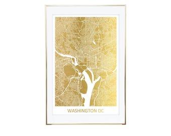 Washington DC Map Gold Foil Print- Real Gold Foil, Gold Foil Printing, Foil Print, Gold Foil Maps, Foil Maps. Gold Foil Map Of the World