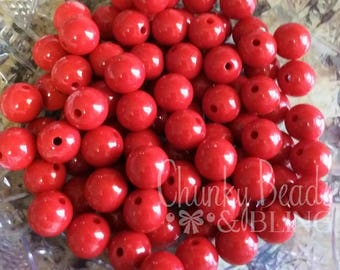 12mm Red Acrylic Beads 30pc