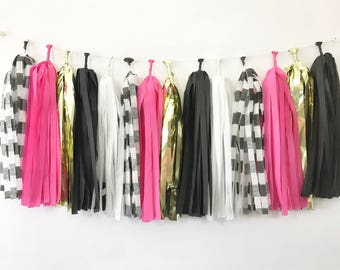 Tickle me Hot Pink - Black and Pink Tassel Garland - Hot Pink Garland - Bachelorette Party - Stripes - Girl Birthday - Gold