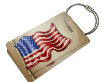 Vintage American Flag Suitcase Bag Id Luggage Tag Set