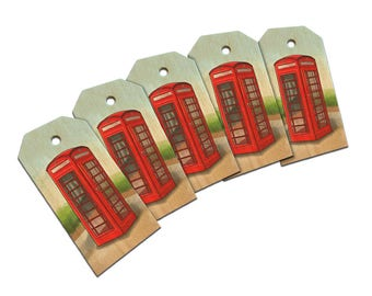British Red Telephone Booth Wooden Wood Gift Tag Set