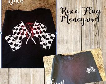 Race flag monogram shirt. Checkered flag monogram tshirt. Makes a great gift.