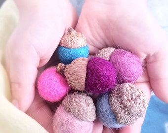 Felted Acorns, fairy garden, spring acorns, eco friendly, spring nature table decor, woodland gift, bowl filler