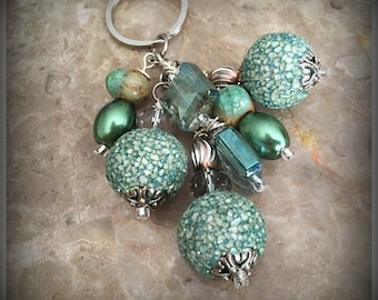 Green Cluster Of Beads Keychain, Beaded Keychain, Bag Accessories, Bag Charm, Keyring Charm, Beaded Purse Charm