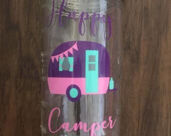 Happy Camper Mason Jar Tumbler