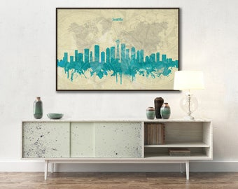 Seattle skyline, Seattle, Canvas, Print, Travel, Art, Home Decor, Painting, Vintage, Skyline, City prints