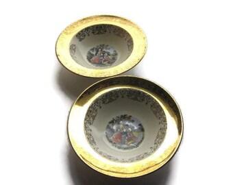 """Vintage Sabin Crest o Gold Finger Bowl 22 K Warranted 8"""" x 2"""" // Colonial Couple // Soup/Cereal Bowl, 632J"""