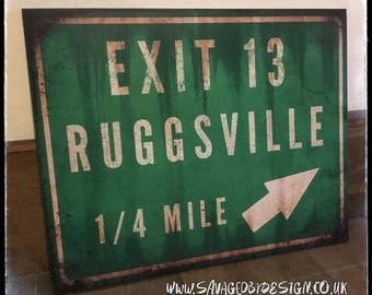 Ruggsville Exit 13 sign from House of 1000 corpses / devils rejects