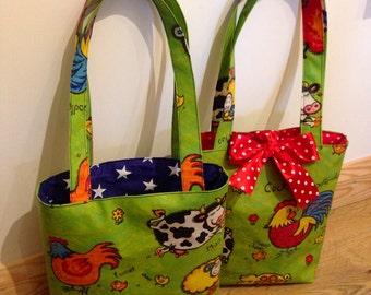 Children's bag, tote bag, kids shoulder bag, child's handbag, Easter basket, Him & Her bag