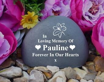Memorial Pebble - Personalised - Weatherproof - Lily Design - Freestanding