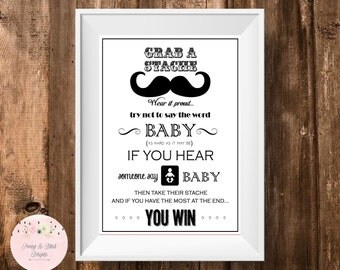 Mustache Dont Say Baby Printable, Baby Shower Game, Dont Say Baby Game sign, Mustache Baby Shower Game, Little Man Baby Shower, Clothes Pin
