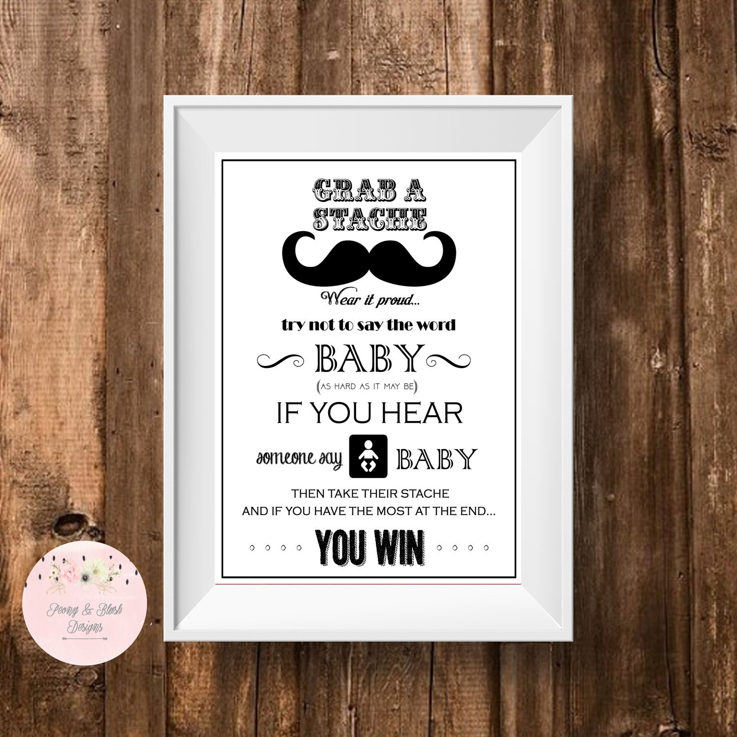 Mustache Dont Say Baby Printable Baby Shower Game Dont Say