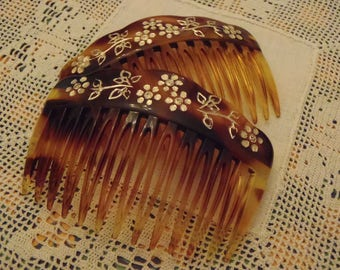 Vintage French Hair Combs 1960s Faux Tortoise Shell with Silver Impressed Floral decoration 75 mm (3 inches) Wide