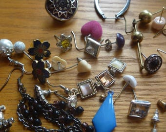 earrings destash, assorted backless, damaged and odd earrings