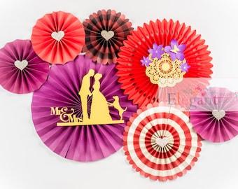 Paper Rosettes,Paper Fans,centerpiece, paper pinwheels, valentine,  wedding decoration, engagement party, flower backdrop, valentine