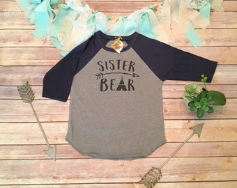 Sister Bear Shirt, Sister Shirts, Pregnancy Reveal, Family Shirts, Baseball Shirts, Baseball Sleeves, Im Going to be a Big Sister Shirt