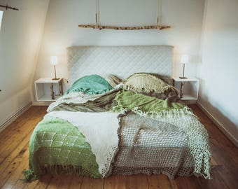 Designer ceiling quilt bed cover made from vintage knitting by TIPIYEAH in forest green