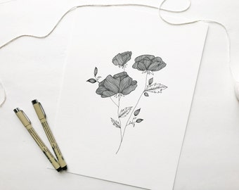 Hand Drawn Floral Black and White Illustration 9x12""