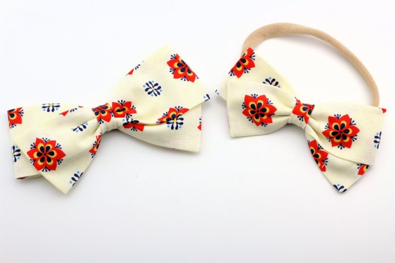 Baby bows, Toddler, Girls Fabric Bow, Newborn, Hand tied bow, Burnt Orange and Navy floral