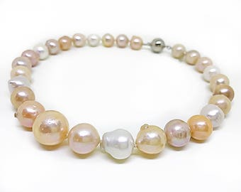 "Large baroque pearl necklace with Sterling silver clasp, 0.5-0.7"" Kasumi beaded pearl necklace, Freshwater, cultured beige pearl necklace,"