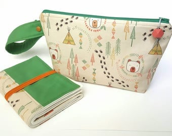 Diaper clutch, diaper changing pad, small diaper bag, travel changing pad, diapers and wipes case, nappy wallet, woodland baby