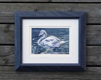 """Swan - Original Watercolor Painting - 5"""" x 7"""""""