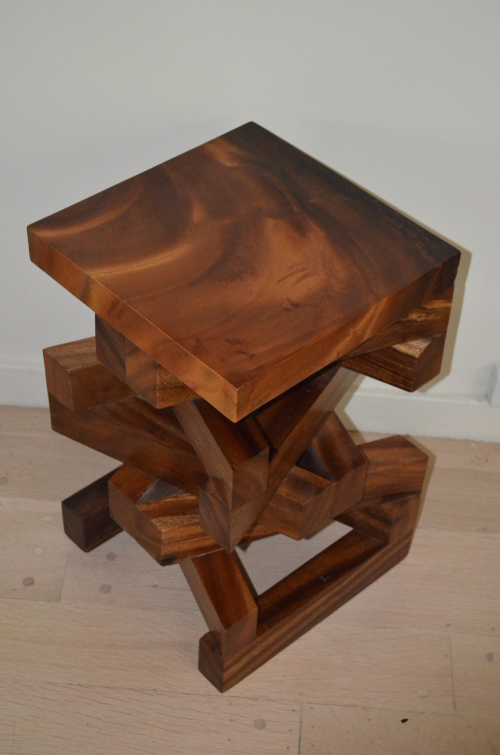Solid Acacia Wood Modern Unique Side Table, End Table, Accent Table, Stool  Or Night Stand