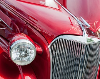 Ford Coup, Vintage Automobile Photos, Red and Chrome Classic Car, Photographic print, Kool April Nights photo, Old Car print