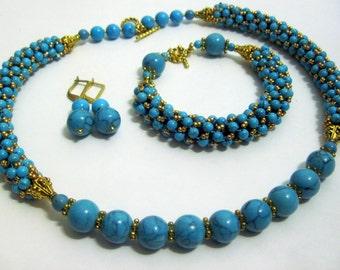 Beadwork jewelry set  Turquoise jewelry set  Turquoise necklace  Turquoise bracelet