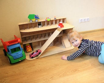 Wooden car garage, Gift for boy, Car shelf, Toy car storage, Toy garage, Toy shelves, Wooden toy garage, Wooden garage toy, Wooden garage