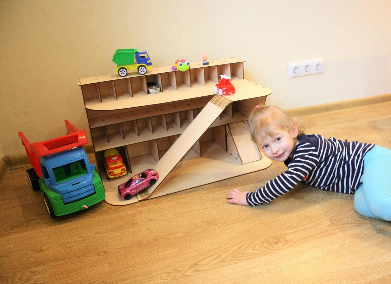 Toy Garages For Boys : Wooden car garage gift for boy shelf toy storage
