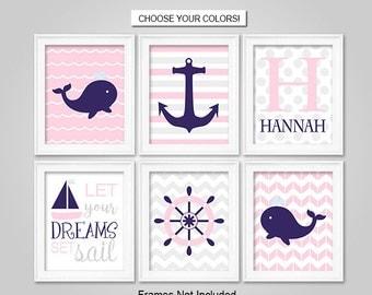 PRINTS or CANVAS or Printable Digital Download - Nautical Wall Art - Nautical Nursery Decor - Pink, Navy, Grey, Sailboat, Whale, Anchor