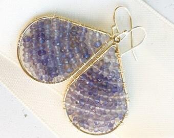 Iolite Earrings--Iolite Jewelry--Iolite Teardrop Earrings
