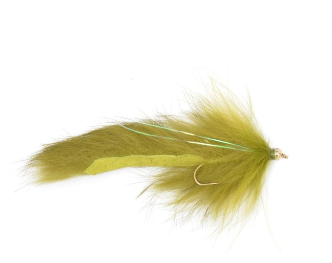Hand Tied Trout Flies: Bead Head Bouface Marabou Bunny Streamer - Olive - Trout and Bass Fly Fishing Flies - Hook Size 4