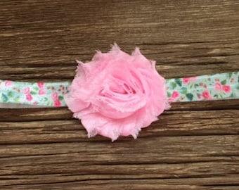 Light pink shabby flower headband, newborn headband, photo prop, flower headband, baby gift, floral stretch headband, toddler headband