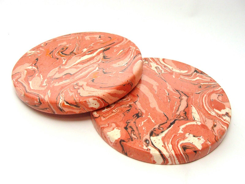 Set Of 2 Coasters Drink Coasters Marble Coasters Red Round