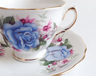 Blue teacup Royal Vale - Vintage Tea Cup - Cup and Saucer old - English Tea Mug