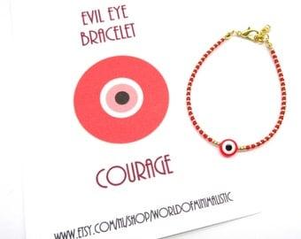 Adjustable Evil Eye Bracelet - minimalist dainty beaded bracelet - protection bracelet - make a wish bracelet