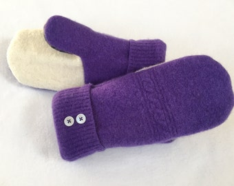 Sweater Mittens, Recycled Sweater Mittens, Fleece Lined Mittens, Lined Mittens, Wool Mittens, Purple