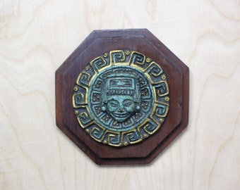 Vintage Malachite Mayan Sun on Wood Octagon Plaque