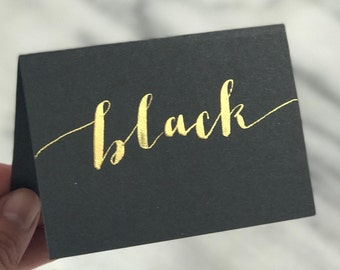 BLACK place cards | modern calligraphy with gold, white, silver, or rose gold ink