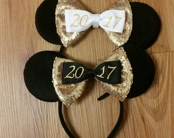 SALE ready to ship. New years minnie ears, year 2017 minnie ears, new year hair bows, minnie ears, new year bows