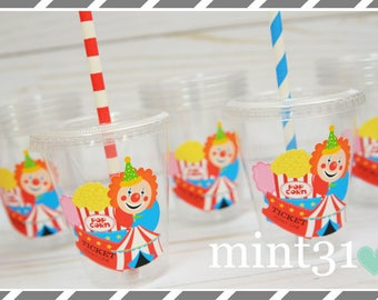 Set of 10 or 20-Circus themed Party Cups, Lids & Straws, Favor Cups