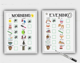 Kid's Routine Charts, Morning and Evening, print at home, visual, organisation, family command centre, kids daily planner, Autism, ADHD, ASD