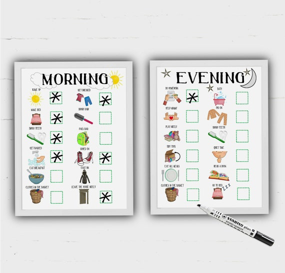 Kid 39 s routine charts morning and evening print at home for Stay at home craft jobs