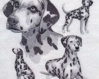 Dalmation Embroidered quilt block square Kona White Fabric