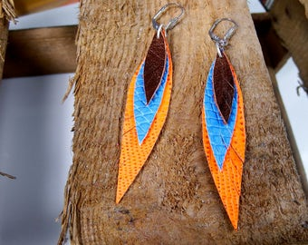 feather earrings, leather earrings, orange royal blue brown, Boho jewelry, Boho earrings, leather feathers, leather jewelry