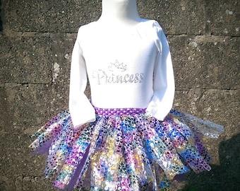 Tutu skirt with cotton top, Party skirt, Birthday outfit, Pink tutu, Peacock tutu,