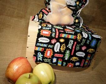 Fruit bag, reusable bag, eco friendly fruit bag, farmers market bag, veggie friendly bag, mesh bag, produce bag, help save the earth bag